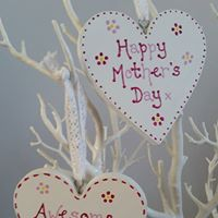 Crafty Karen painted wooden hearts